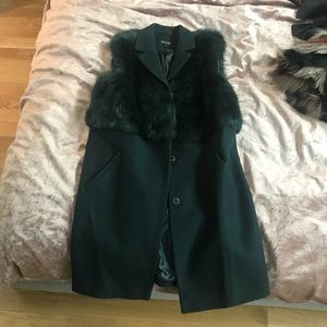 Green faux fur trench vest